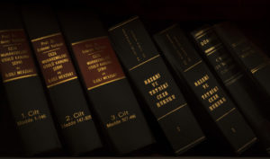 6 law books leaning on each other