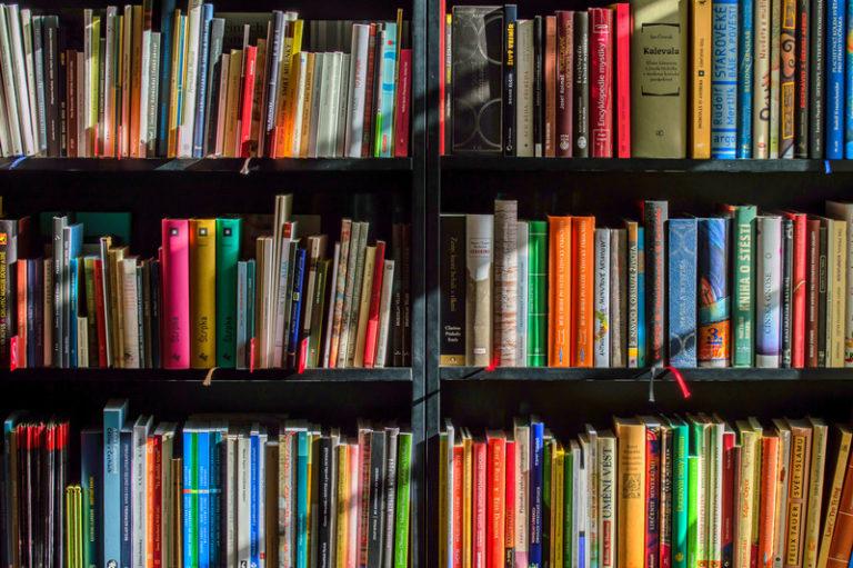 A shelf full of colorful books
